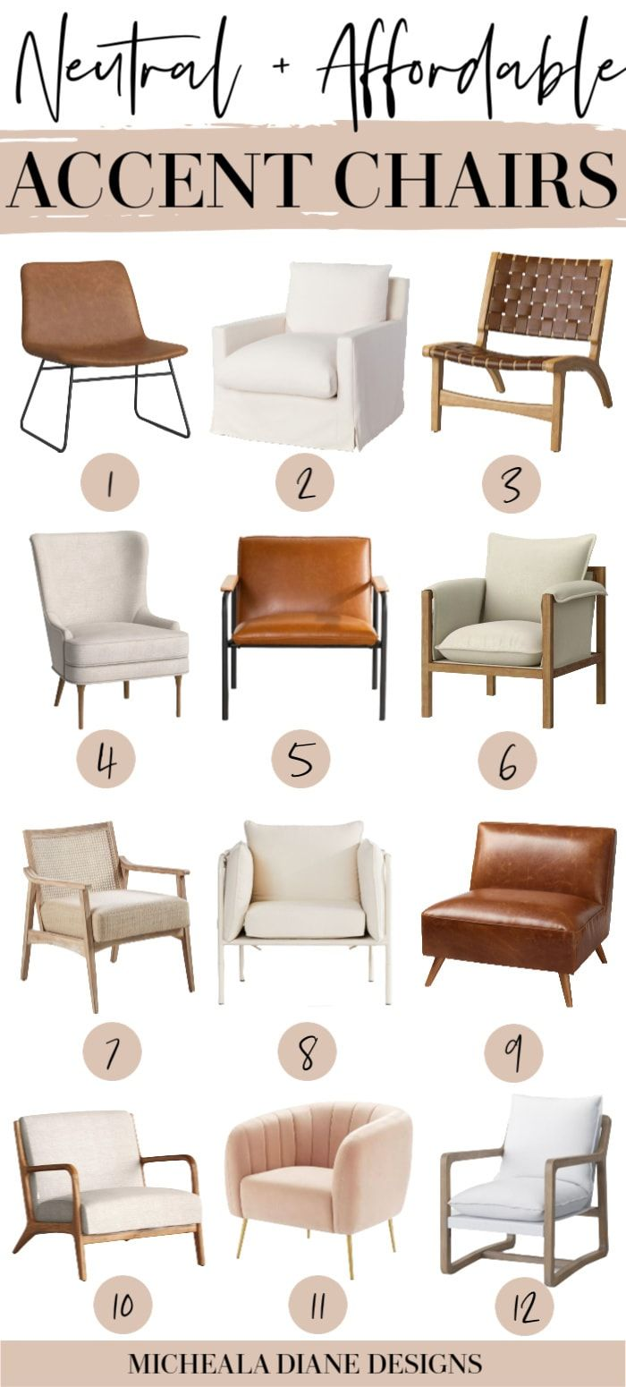 Affordable Neutral Accent Chairs Accent Chairs For Living Room Farm House Living Room Living Room Chairs Types of living room chairs