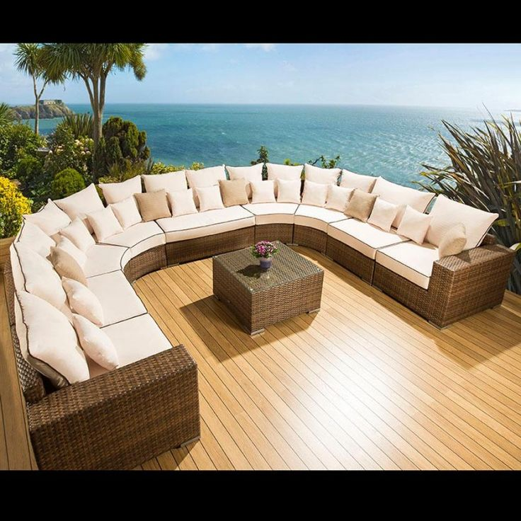 Luxury Rattan Outdoor Garden U Shape Corner Sofa Set Group