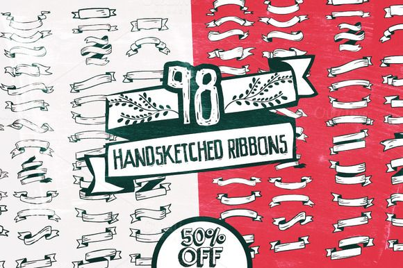Check out 98 Handsketched Ribbons by Layerform on Creative Market