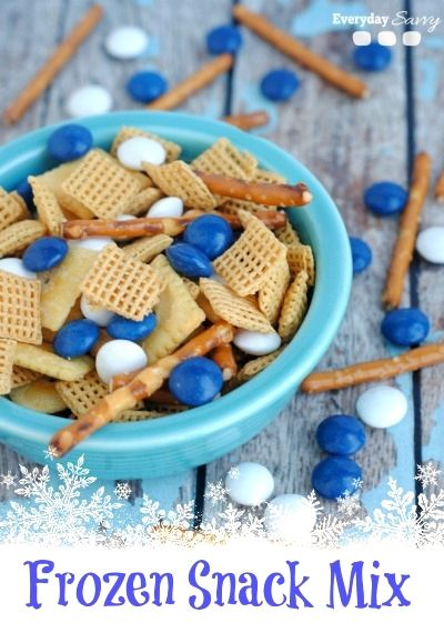 A snack mix with the theme of Disney's Frozen movie!