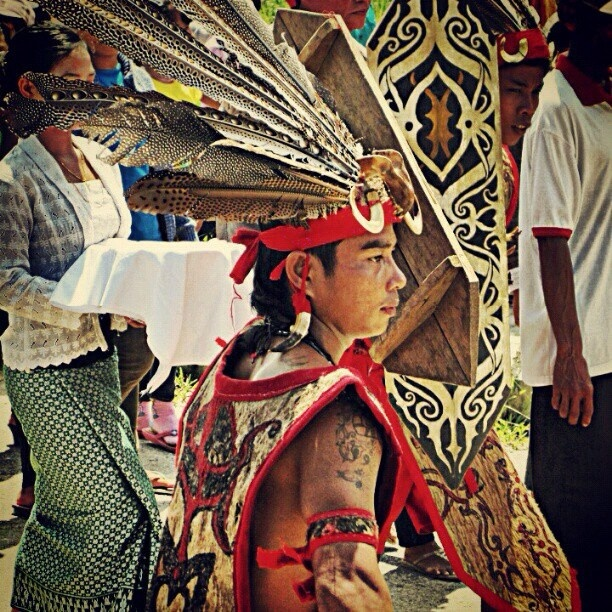 Dayaknese tribal costume, West Kalimantan
