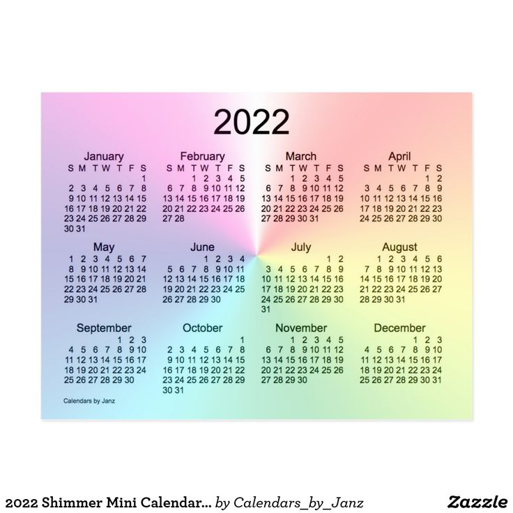 2022 Shimmer Mini Calendar by Janz Postcard