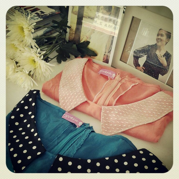 peach and tosca tops    cotton   lace   collar   handmade   custom   byryvera  