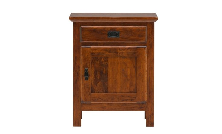 A beautifully constructed nightstand with a door and drawer for storage. Completed in a distressed cherry finish that adds warmth to a bedroom.