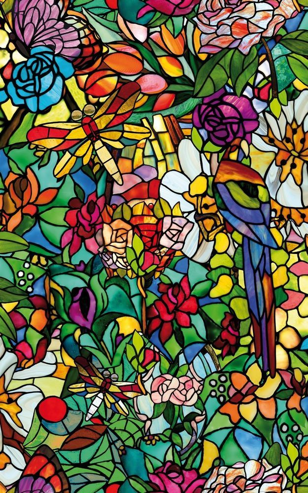 Stained Glass Window Film Shower Door Cabinet Decorative Spring Chapel/Tulia NEW #DCFix #Floral