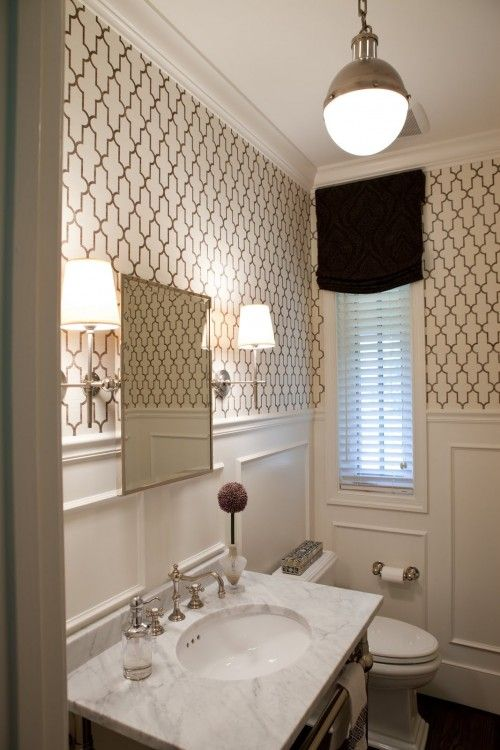 Classic bath with trellis paper, marble, nickel sconces, and Thomas O'brien pendant. THIS is what I want to do in the guest/kids bathroom with solid quartz countertops instead of marble.