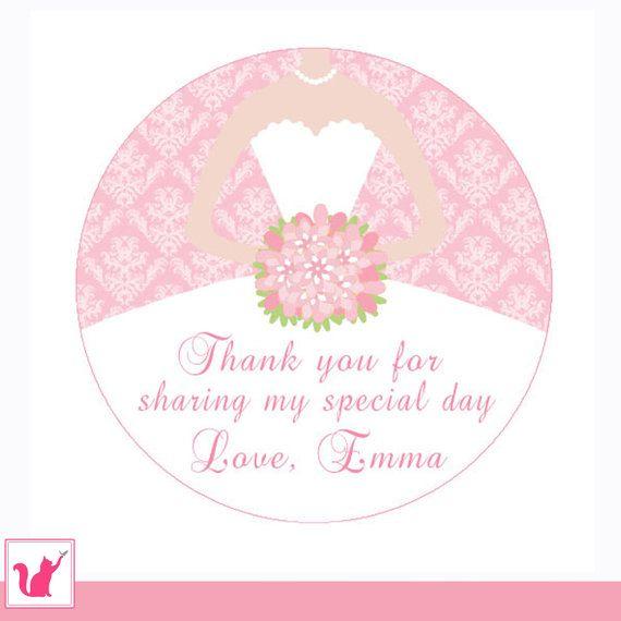 Dress Labels Gift Favor Label Bridal Shower Thank You Tag