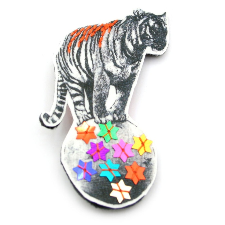 Terence The Tiger Brooch by Haberdash House: Sequins Brooches, Terence, Saia Mini-Sequins, Products, Haberdash Houses, Tigers Brooches, Modern Brooches