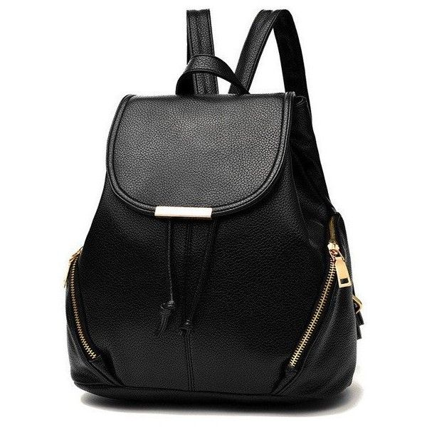 YINGPEI VEGAN LEATHER BACKPACK CLASSIC SHAPE RED WHITE BLACK PINK... (1,405 DOP) ❤ liked on Polyvore featuring bags, backpacks, faux leather rucksack, backpack bags, zippered faux leather backpack, pink rucksack and black and white backpack