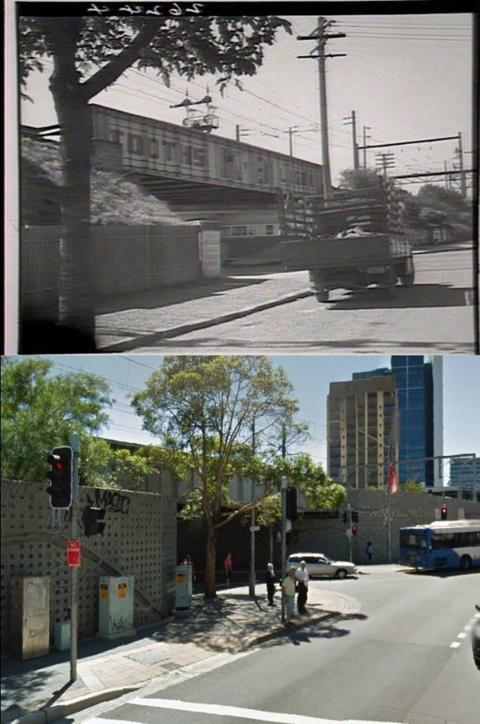Argyle and Church Streets, Parramatta in 1944 and 2014. [1944 - State Library of NSW/2014 Google Street View. By Phil Harvey]