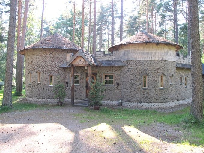 Viking sauna in Finland, cordwood/clay construction, built 2000-2002