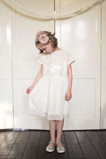 Ivory Lace Bridesmaids Dress  Flower girl Dress  by AnnaandAlex, £135.00