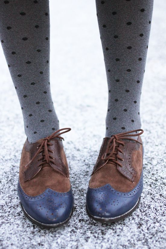 dotted tights and oxfords.