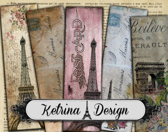 Vintage Paris Bookmarks Carte Postale Bookmarks by KetrinaDesign