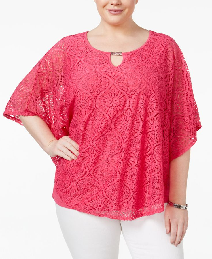 Jm Collection Plus Size Batwing-Sleeve Lace Top, Only at Macy's