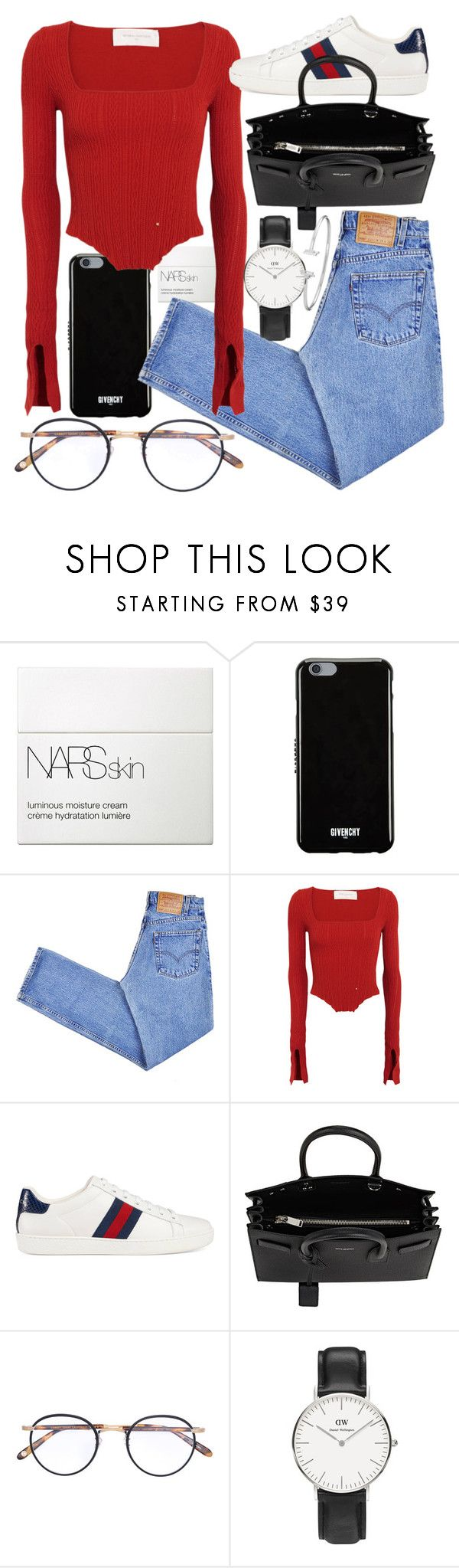 Untitled #22153 by florencia95 on Polyvore featuring Esteban Cortazar, Levi's, Gucci, Yves Saint Laurent, Daniel Wellington, Givenchy, Garrett Leight and NARS Cosmetics