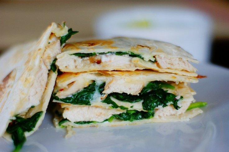 Grilled Chicken Goat Cheese & Spinach Quesadillas with avacado sour ...