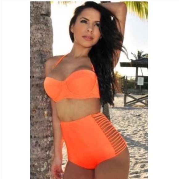 High waist orange cut out bikini Neon orange sexy cut out bikini. This swimsuit is perfect for hiding a little around the middle while showing off your beautiful curves. Bottoms fit a 12, 14, or 16 top is a push up that comfortably fits 36 C/D or 38 B/C. Original swimsuit was purchased from Hot Miami Styles. I bought it from another posher and I'm selling because I want a bit more coverage in the top. Hot Miami Styles Swim Bikinis