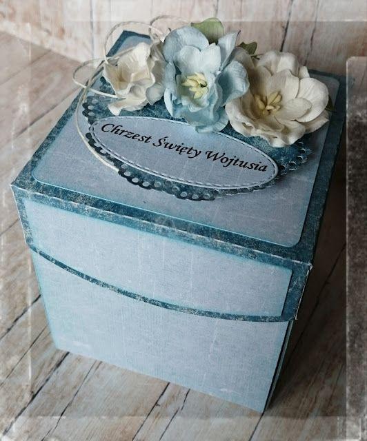 Exploding box z okazji Chrztu w błękicie...  Papiery UHK Gallery  Tekturki tym razem każda to inna firma ;)