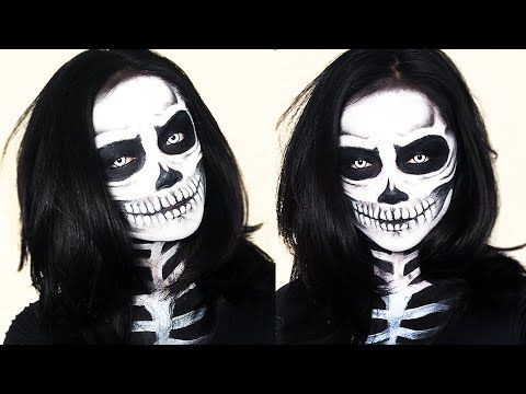 Skeleton Makeup Halloween Tutorial | Brigette Ramos - good teeth and jaw directions