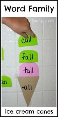 Word family ice cream cones - make learning to read fun with this hands on activity!