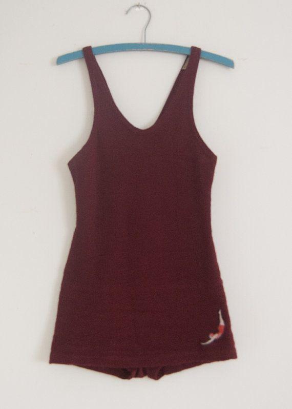 1920s Jantzen burgundy wool men's swimsuit 40 by inheritedattire, $120.00