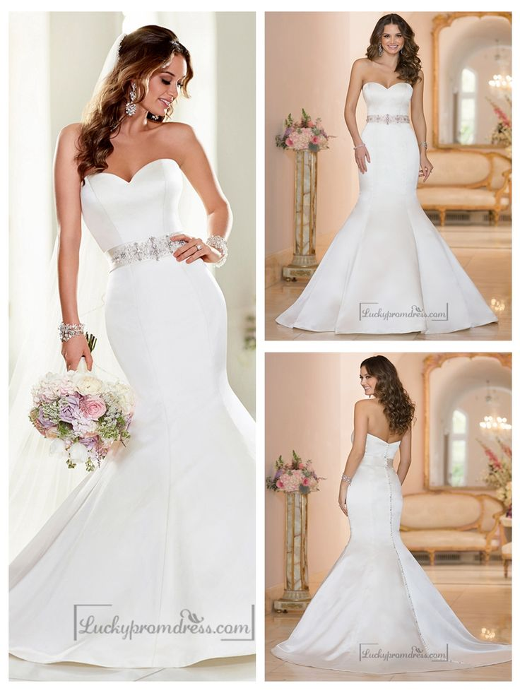 Strapless Sweetheart Mermaid Wedding Dresses with Beading Waist