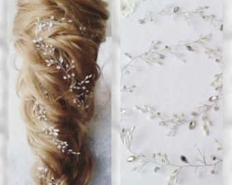 Lange haren vine, bruids haar wijnstok, kristallen Bridal Wedding, hoofdband, Bridal haar Vine, bruiloft haren-vine, parel haar wijnstok 53