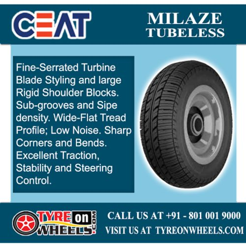 Buy Ceat Car Tyres Online of Milaze Tubeless Tyres at Guaranteed Low Prices and also get Mobile Tyres Fitting Services at your home now buy at http://www.tyreonwheels.com/tyres/Ceat/MILAZE-TUBELESS/9