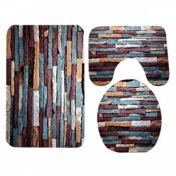 3 Pcs Brick Wall Pattern Flannel Bathroom Toilet Mat - RED BROWN