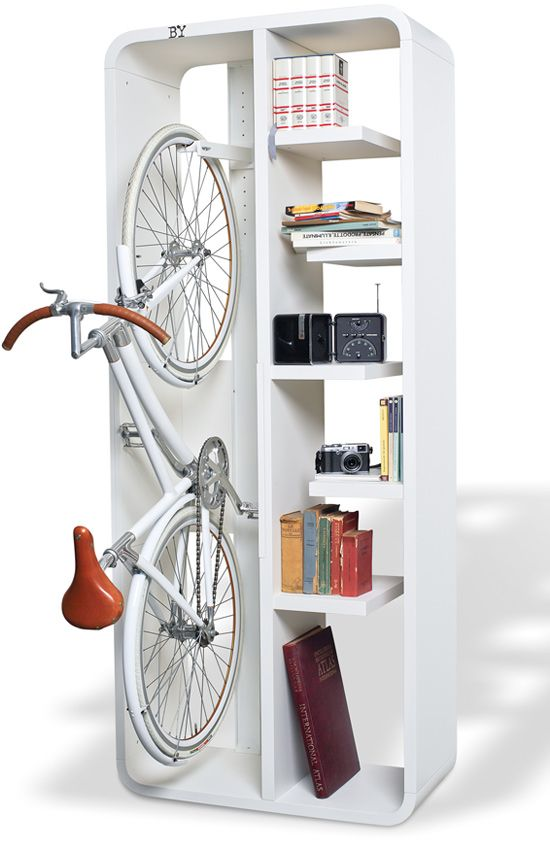 bicycle rack bici bike parking blanco white estantería shelf storage miraquechulo: Small Apartments, Bike Storage, Ideas, Small Places, Bikes, Tiny Houses, Bike Racks, Small Spaces, Small Houses