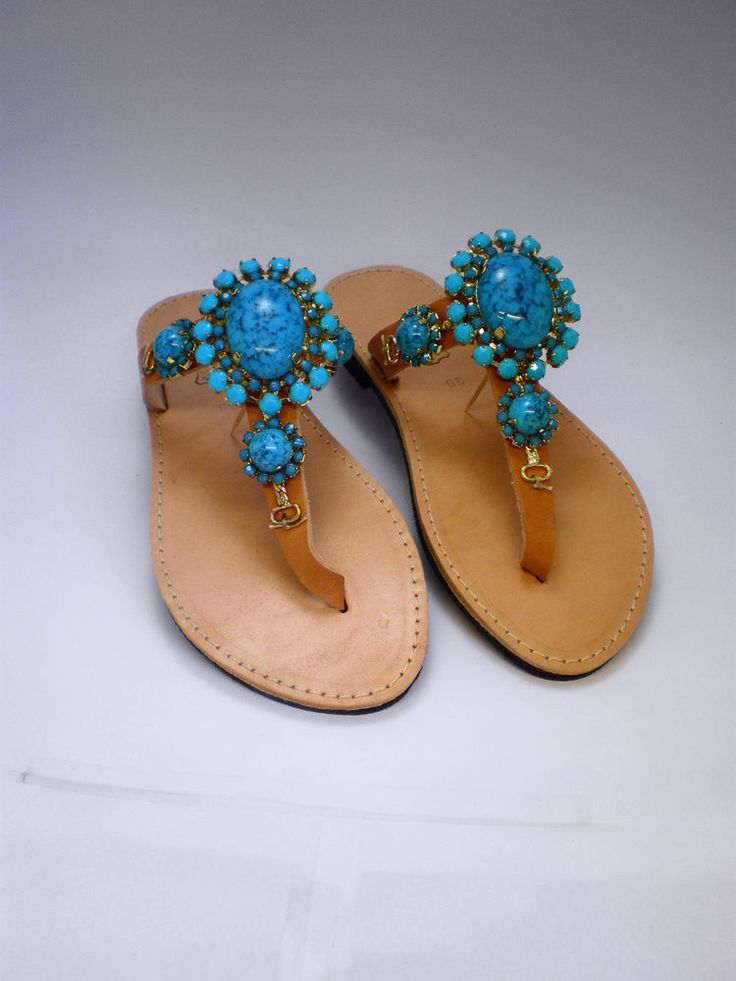 Hand made Genuine leather sandals decorated with turquoise stones