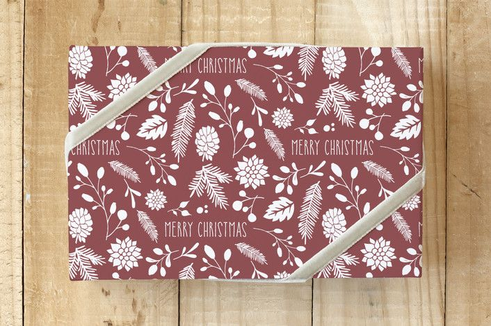 Merry Christmas Leaf Self-Launch Wrapping Paper by Jan Shepherd on Minted
