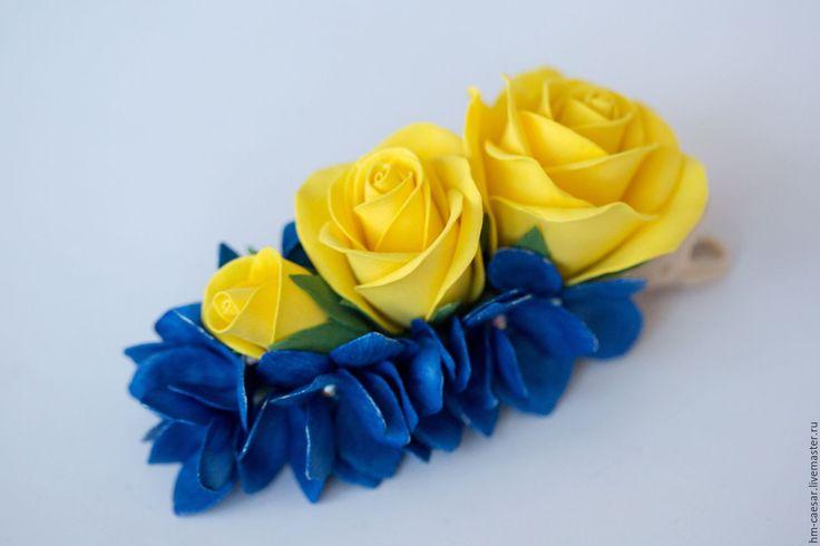 Купить Зажим с желтыми розами и синей гортензией из фоамирана - комбинированный, фоамиран, фоамиран иранский