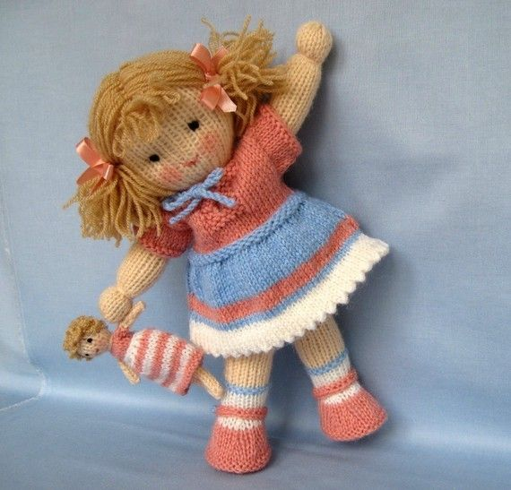 Lulu and little doll - doll knitting pattern - INSTANT DOWNLOAD - PDF knitting pattern - ePattern