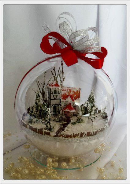 Bombka 3D z zimowym krajobrazem z kościółkiem - Art-Emi - Dekoracje: bombki