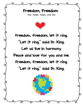 Here is one Martin Luther King poem that's part of my January Poems and Songs Packet. In the packet, there are a total of 25 poems/songs/fingerplay...