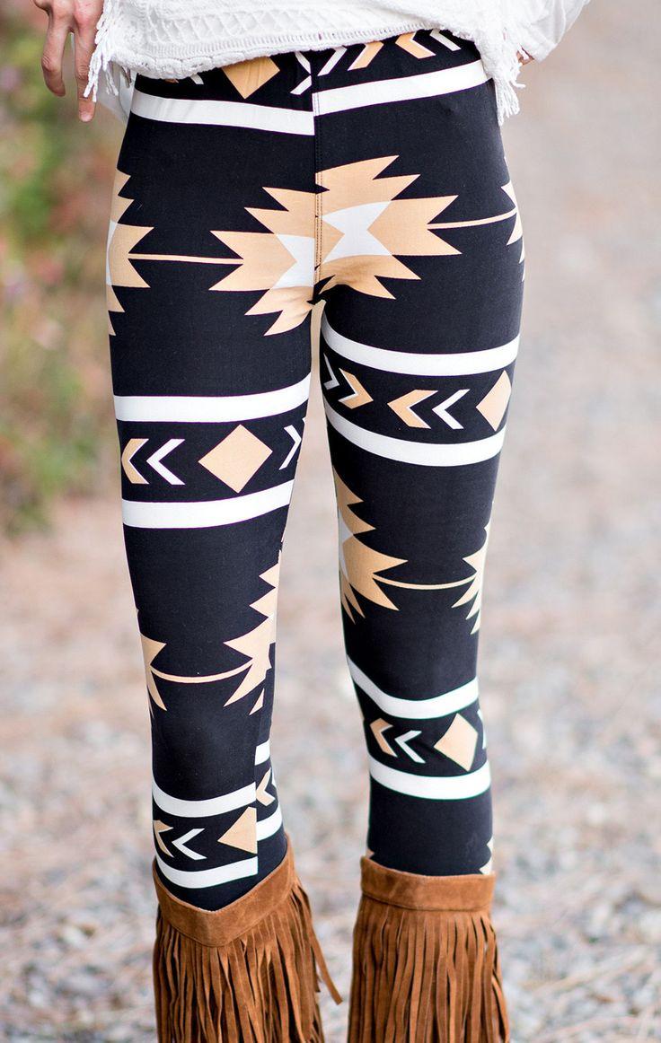 Navajo Aztec Leggings - Sand
