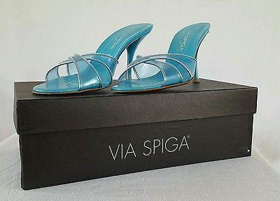 Via Spiga Size 6.5 Slip on Open Toe Sandals 3 1/2 inch Heel Clear Blue Italy