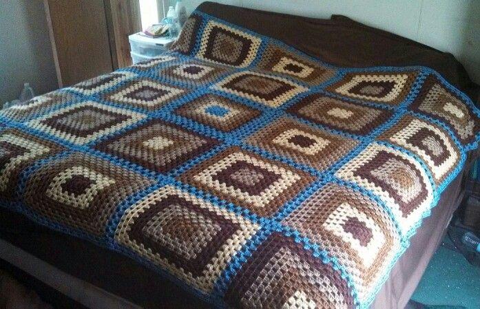 King size granny square blanket