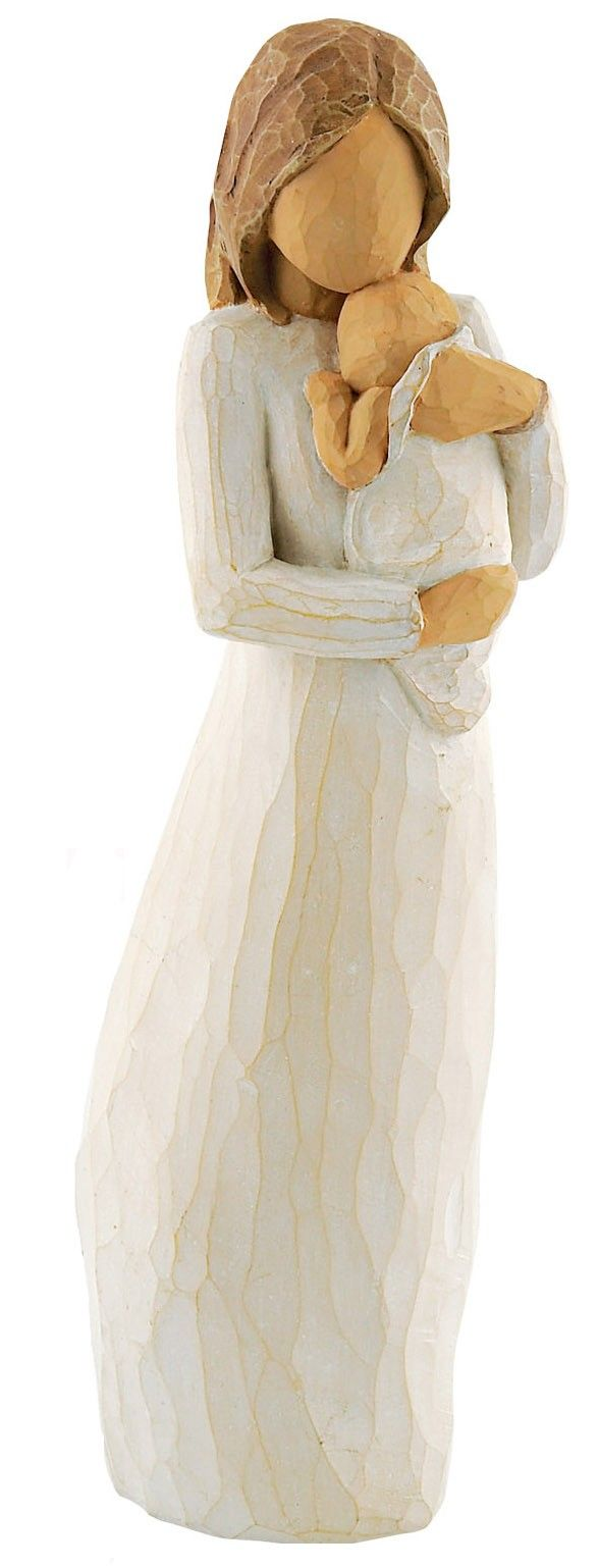 A mother holds her newborn to her chest, feeling that new life in her arms and breathing in the scent of her baby. This Willow Tree Angel of Mine figure captures the magic of that moment, the silence and love that fills the mothers heart. A perfect gift for a new mother, this figurine will be a reminder of her first days with her baby for years to come.
