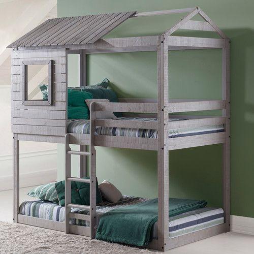 $740 Donco Kids Twin Bunk Bed : 100'' H x 43'' W x 77'' D