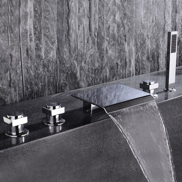 Moda Contemporary Waterfall Deck Mount 5 Hole Bath Mixer Tap With