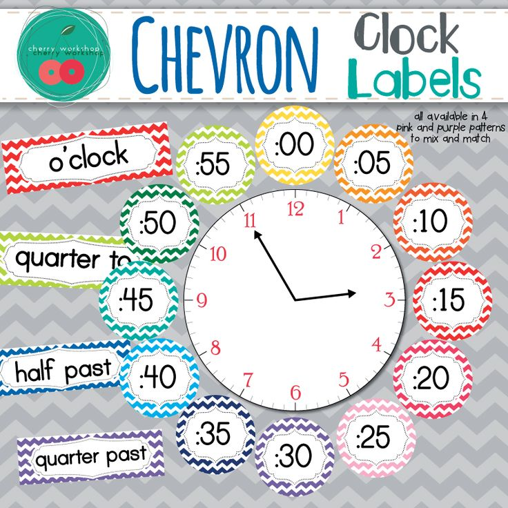 Chevron Clock Labels • Chevron Classroom Decor