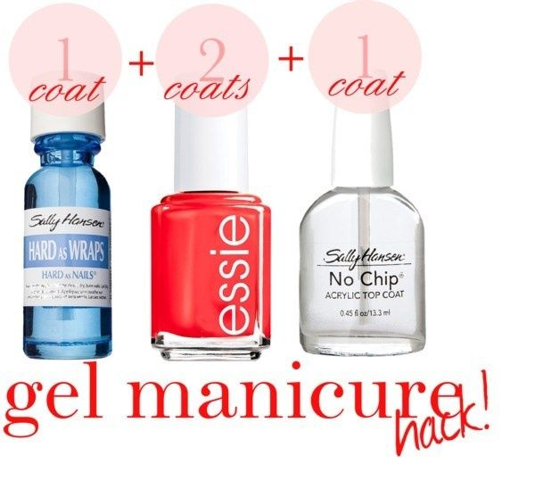 "DIY Gel Manicure!  --  Sally Hansen ""Hard as Wraps"" and ""No Chip Acrylic Top-Coat"".  Done."