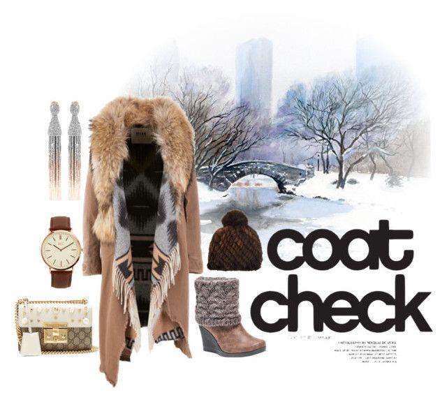 """Winter Coat"" by mikaelajane17 on Polyvore featuring BKE, Muk Luks, Barneys New York, Oscar de la Renta, Gucci and statementcoats"