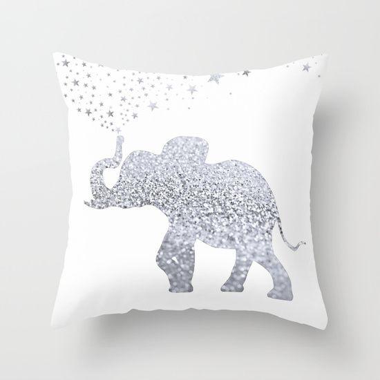 ELEpHANT Throw Pillow by Monika Strigel | Society6 $20  #elephant #silver…