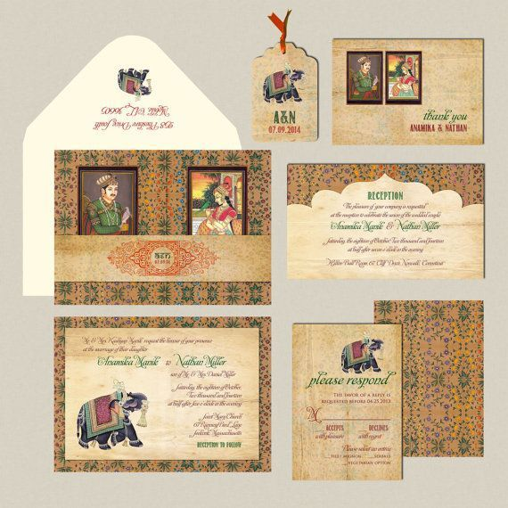 Today we are heading back to the continent of Asia with these Indian wedding Invitations. Full of colors and patterns, these invitations are detailed and beautiful!