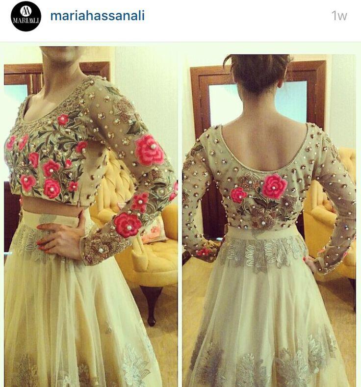 Embellished choli ghagra by Maria hassan ali