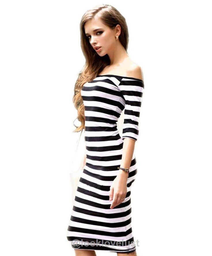 Off The Shoulder Knee Length Strapless Stripe Dress - Black / L - Casual Dresses, Look Love Lust